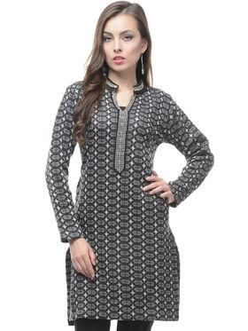 Lavennder Designer Grey Printed Woolen Kurti -2934