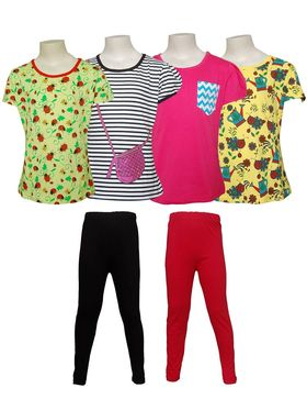 Pack of 4 Little Star Girl's Top and 2 Leggings - 31006_Cute Girl
