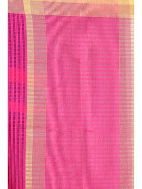Zoom Fabrics Plain Cotton Silk Dark Pink Saree -4052E
