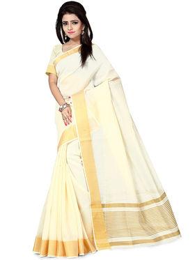 Zoom Fabrics Plain Cotton Silk Cream Saree -4053B