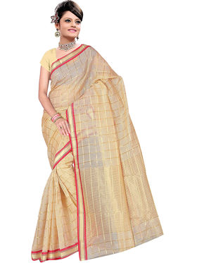 Adah Fashions Beige South Silk Saree -888-138