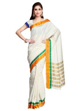 Cream Tussar Silk Orange Border Saree with Blouse Piece_ADM-SR-SNH3-10066