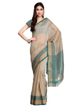 Beige Cotton Linen Saree with Blouse Piece_ADM-SR-SNH3-10075
