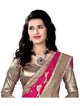 Khushali Fashion Embroidered Jacquard Half & Half Saree_KF02