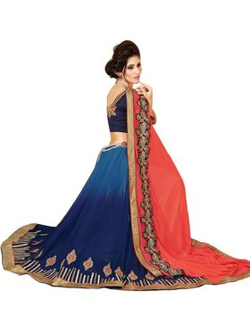 Khushali Fashion Embroidered Georgette Half & Half Saree(Blue,Gajari)_ASFPVA350