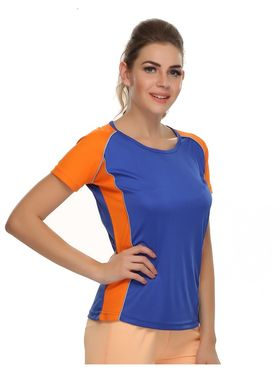 Clovia Polyester Blended Solid Dri-Fit Sports T-Shirt -AT0011P08