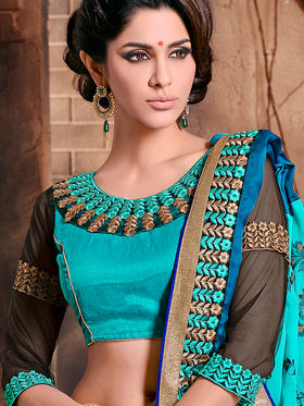 Blue and Aqua Satin Embroidered Georgette Saree with Blouse Piece_AY-SR-AK-3214