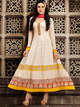 Adah Fashions Georgette Embroidered Semi Stitched Suit - Cream - 712-10005-4