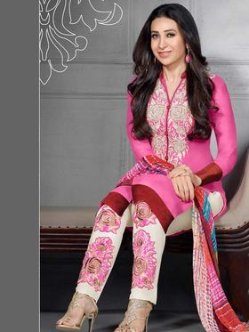 Adah Fashions Georgette Embroidered Semi Stitched Suit - Pink - 741-52010