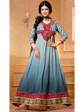Adah Fashions Designer Faux Georgette Semi-Stitched Suit - Grey - 467-15003