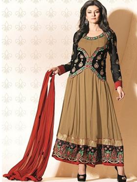 Adah Fashions Designer Faux Georgette Semi-Stitched Suit - Brown