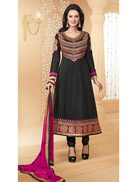 Adah Fashions Embroidered Faux Georgette Semi-Stitched Anarkali Suit - Black - 446-4793