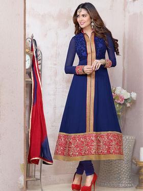 Adah Fashions Faux Georgette Embroidered Semi Stitched Salwar Kameez - Blue