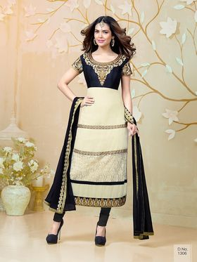 Adah Fashions  Faux Georgette Embroidered Semi Stitched Dress Material - Black & Cream
