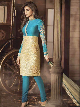 Adah Fashions Georgette with Velvet Embroidered Semi Stitched Designer Suit - Sea Green