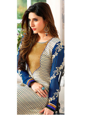 Adah Fashions Georgette Embroidered Semi Stitched Suits - Beige - 555-210B