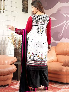 Admyrin Cambric Cotton Printed Dress Material - White+Pink - 7002