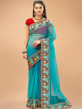 Admyrin Net Printed Saree - Sky Blye - 11006