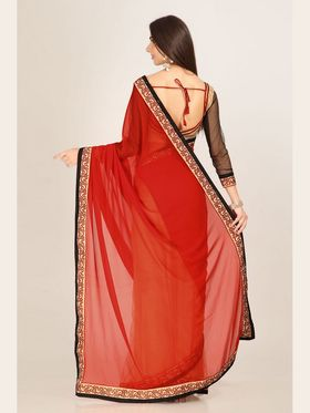 Admyrin Georgette Printed Saree - Red+Beige - 16001