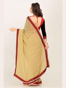 Admyrin Silk Printed Saree - Beige - 16009