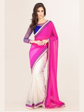 Admyrin Georgette Printed Saree - White+Pink - 16011