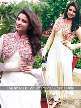 Arisha Georgette Embroidered Semi-Stitched Anarkali Suit - Cream - 1039