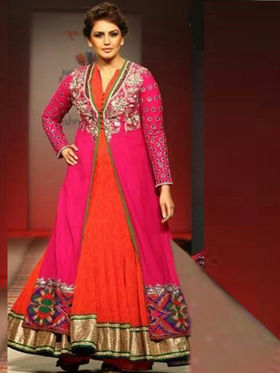 Arisha Georgette Embroidered Semi-Stitched Anarkali Suit - Orange & Pink