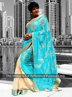 Arisha Georgette Embroidered Saree - Turquoise