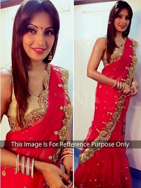 Arisha Net Embroidered Saree - Red - 382