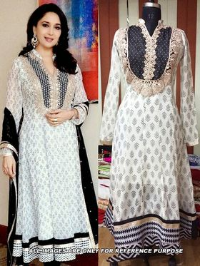 Arisha Georgette Embroidered Semi-Stitched Anarkali Suit - Black And White