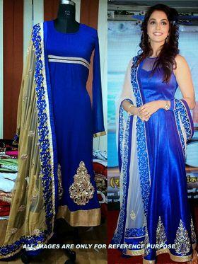 Arisha Georgette Embroidered Semi-Stitched Anarkali Suit - Blue - 6114