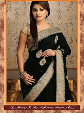 Arisha Georgette Embroidered Saree - Black - 7017