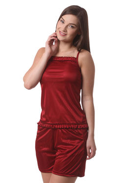 Set Of 4 Being Fab Satin Lycra Solid Nightwear -fbl30