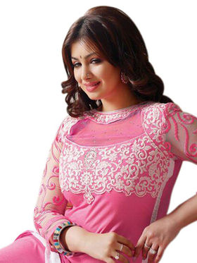 Styles Closet Embroidered Cotton Unstitched Light Pink Dress Material -Bnd-12