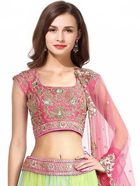 Styles Closet Designer Net & Silk Semi Stitched Lehenga Choli -Bnd-7011