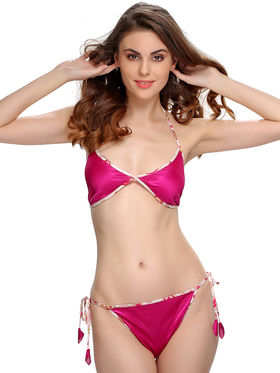 Clovia Satin Printed Bra & Panty Set -BP0231P15