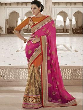 Bahubali Jacquard Embroidered Saree - Pink - HT.53100