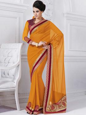 Bahubali Georgette Embroidered Saree - Yellow - GA.50207
