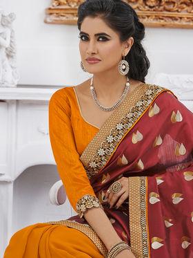Bahubali Jacquard Embroidered Saree - Red - GA.50222