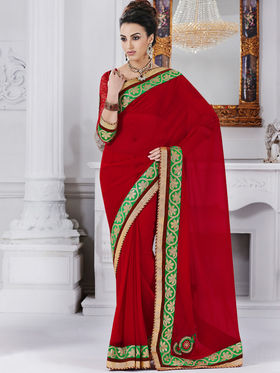 Bahubali Georgette Embroidered Saree - Red - GA.50223