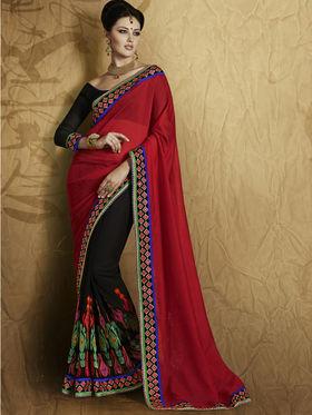 Bahubali Georgette Embroidered Saree - Maroon - RA.10225