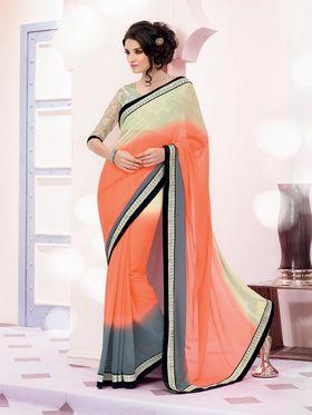 Bahubali Georgette Embroidered Saree - Off White And Orange