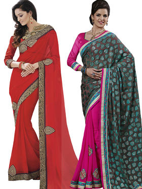 Pack of 2 Bahubali Embroidered Saree - CMB027
