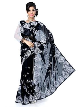 Embroidered Chiffon Saree - Black-1409