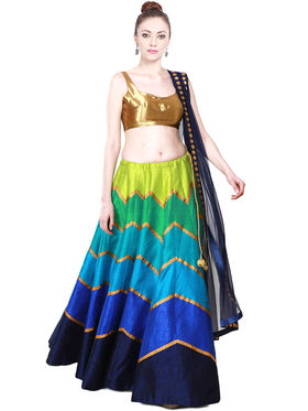 Styles Closet Printed Banglori Silk Semi Stitched Lehenga Choli-Bnd-7016