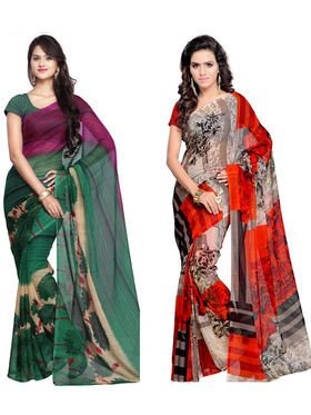 Combo of 2 Arisha Georgette Printed Saree -CMBS03