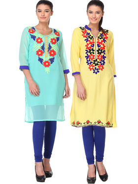 Pack of 2 Lavennder Embroidered Georgette & Rayon Kurti -la01