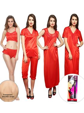 Pack of 8 Clovia Red Satin Nightwear Set With Free Kajal & Bra Strap