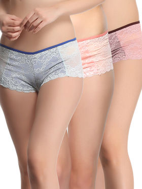 Pack of 3  Clovia Lace Solid Brief -Combopn48