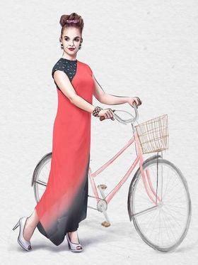 Viva N Diva Pure Viscose Georgette Embroidered Kurtis -Chisel-34